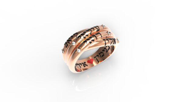 טבעות שמות-טבעת זהב אדום עם חריטת שם צמה כפולה