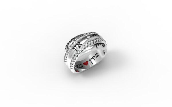 טבעות שמות-טבעת זהב לבן שמות בוזגלו