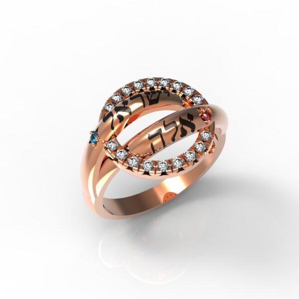 טבעות שמות-טבעת זהב אדום ויקטוריה משובצת יהלומים
