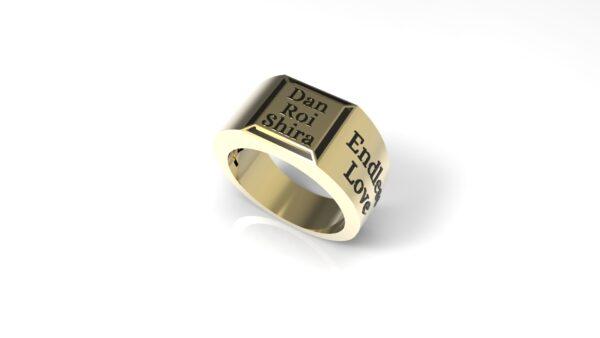 טבעות שמות-טבעת זהב חותם