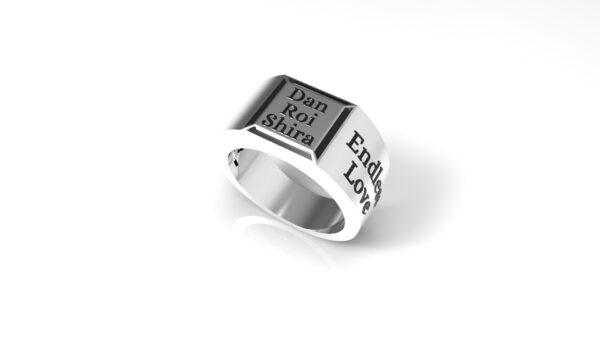 טבעות שמות-טבעת זהב לבן חותם