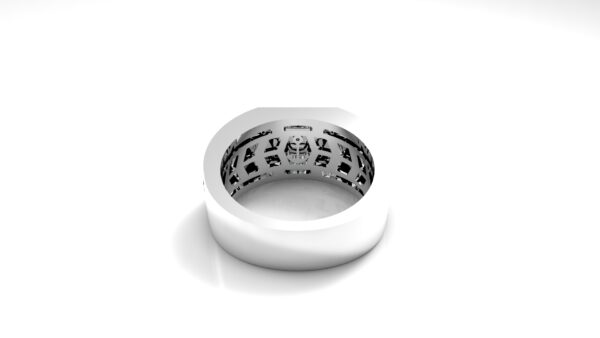 טבעות שמות-טבעת זהב לבן חותם פרונטלי