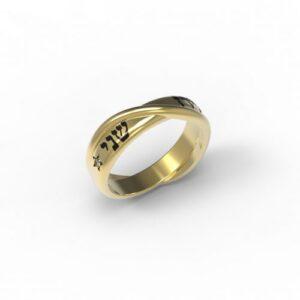 טבעות שמות-טבעת זהב עם שם חישוק נחש