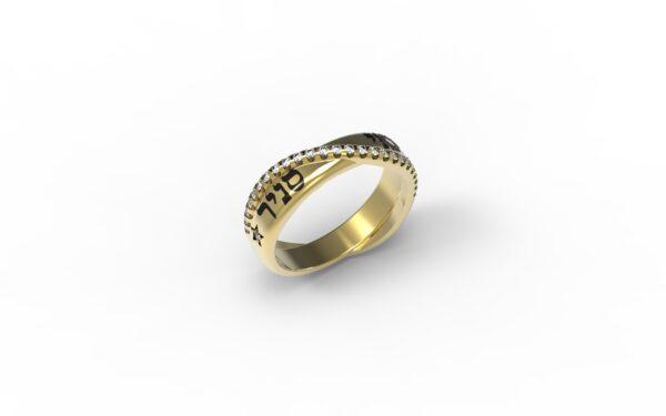 טבעות שמות-טבעת זהב עם שם נחש משובצת