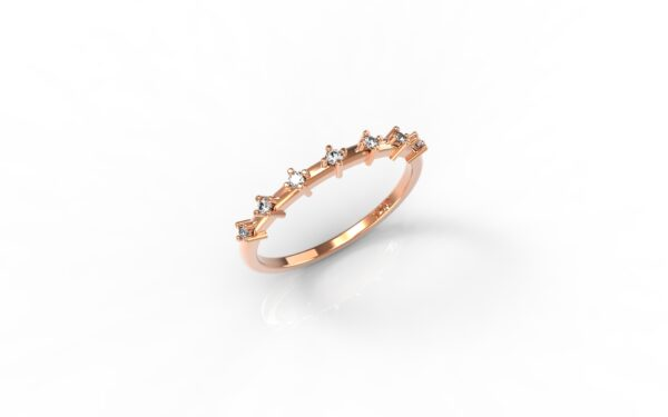 טבעות זהב-טבעת זהב אדום יהלומים דקה