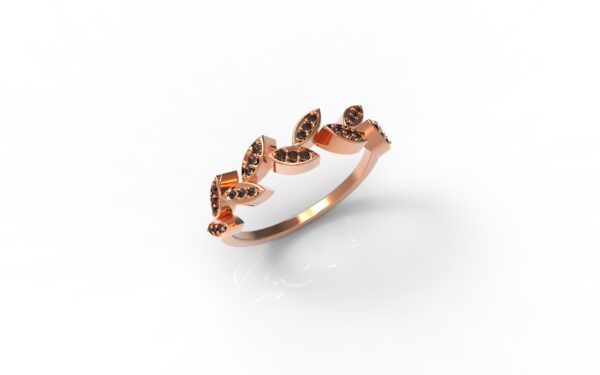 טבעות זהב-טבעת זהב אדום יהלומים שחורים עלים 0.12