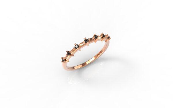 טבעות זהב-טבעת זהב אדום יהלומים שחורים
