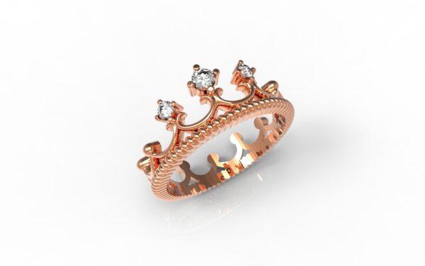 טבעות זהב-טבעת זהב אדום יהלומים 0.11