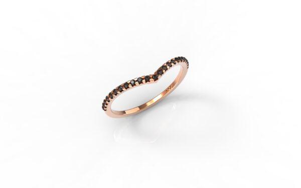 טבעות זהב-טבעת זהב אדום משובצת יהלומים שחורים 0.12