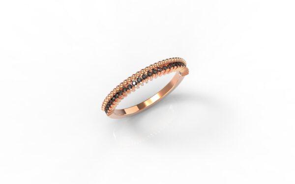 טבעות זהב-טבעת זהב אדום משובצת יהלומים שחורים 0.14