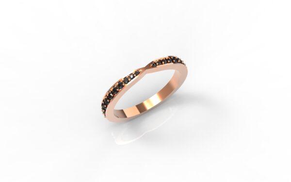 טבעות זהב-טבעת זהב אדום משובצת יהלומים שחורים 0.21