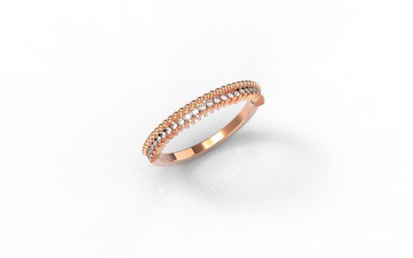 טבעות זהב-טבעת זהב אדום משובצת יהלומים 0.14