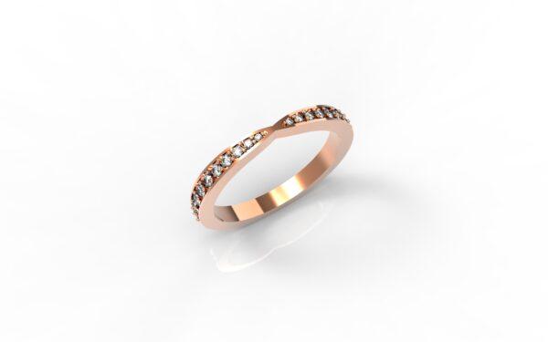 טבעות זהב-טבעת זהב אדום משובצת יהלומים 0.21