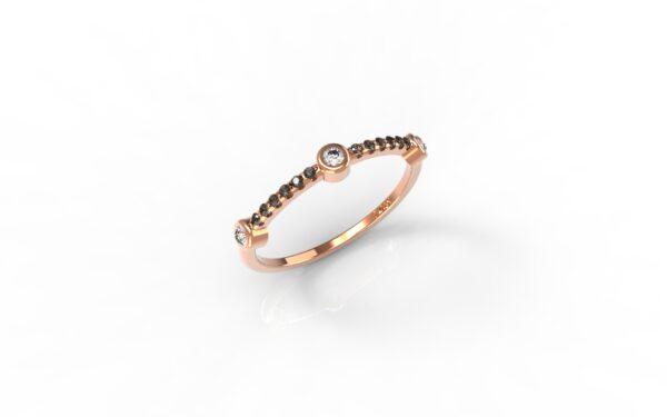 טבעות זהב-טבעת זהב אדום 3 יהלומים משולבת