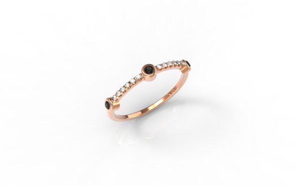 טבעות זהב-טבעת זהב אדום 3 יהלומים שחורים