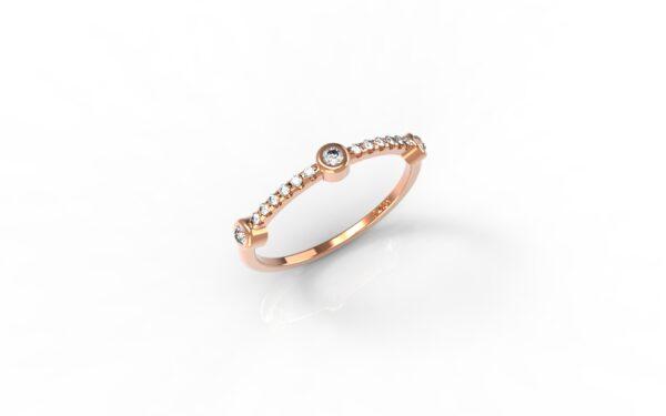 טבעות זהב-טבעת זהב אדום 3 יהלומים
