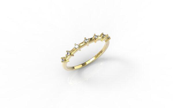 טבעות זהב-טבעת זהב יהלומים דקה