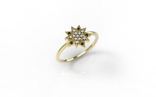 טבעות זהב-טבעת זהב יהלומים שחורים כוכב
