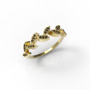 טבעות זהב-טבעת זהב יהלומים שחורים עלים 0.12