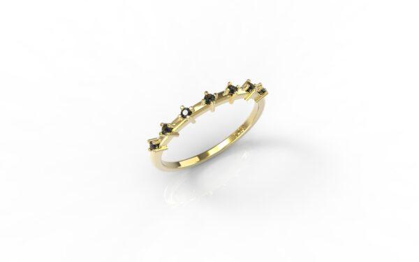 טבעות זהב-טבעת זהב יהלומים שחורים