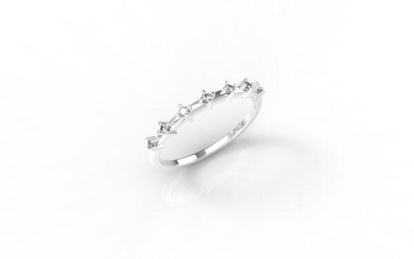 טבעות זהב-טבעת זהב לבן יהלומים דקה