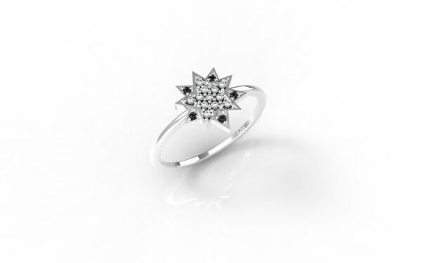 טבעות זהב-טבעת זהב לבן יהלומים שחורים כוכב