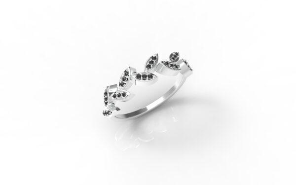 טבעות זהב-טבעת זהב לבן יהלומים שחורים עלים 0.12
