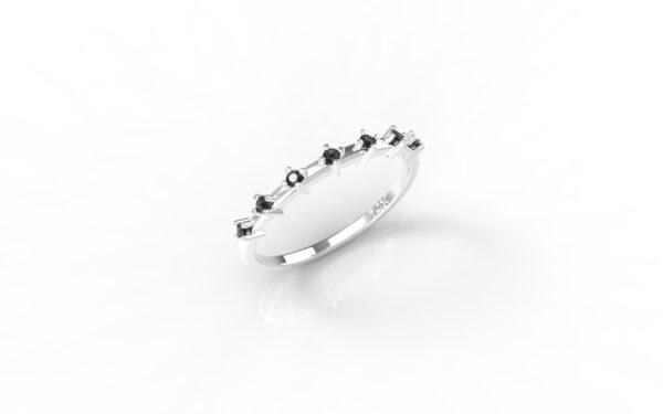 טבעות זהב-טבעת זהב לבן יהלומים שחורים