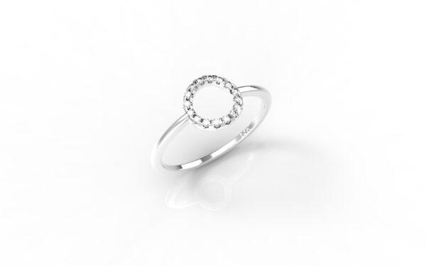 טבעות זהב-טבעת זהב לבן יהלומים 0.10