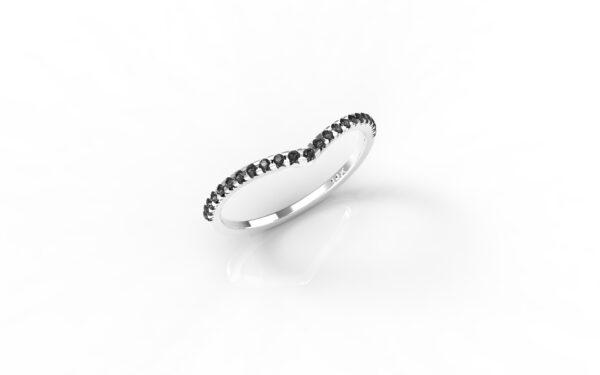 טבעות זהב-טבעת זהב לבן משובצת יהלומים שחורים 0.12