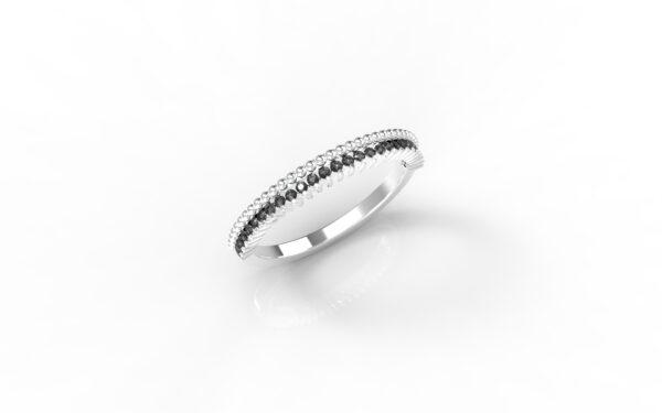 טבעות זהב-טבעת זהב לבן משובצת יהלומים שחורים 0.14