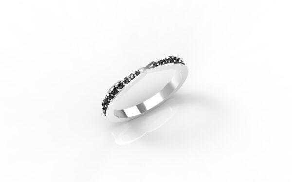 טבעות זהב-טבעת זהב לבן משובצת יהלומים שחורים 0.21