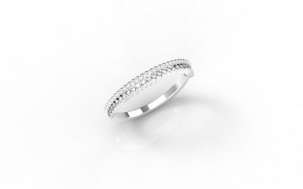 טבעות זהב-טבעת זהב לבן משובצת יהלומים 0.14