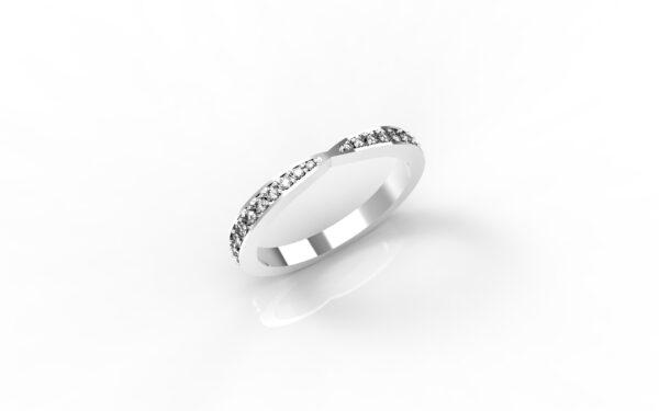 טבעות זהב-טבעת זהב לבן משובצת יהלומים 0.21