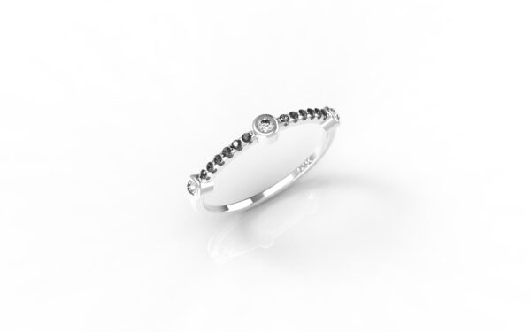 טבעות זהב-טבעת זהב לבן 3 יהלומים משולבת