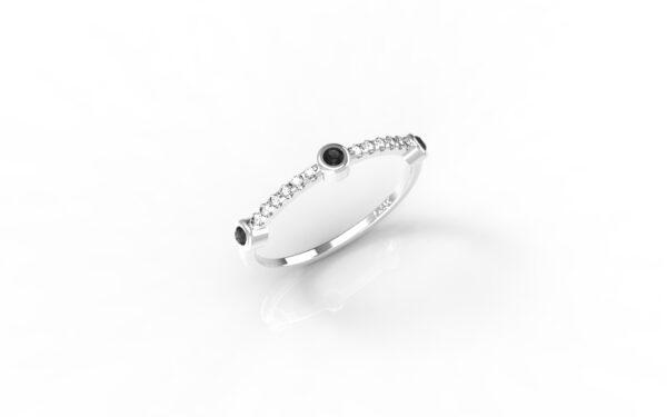 טבעות זהב-טבעת זהב לבן 3 יהלומים שחורים