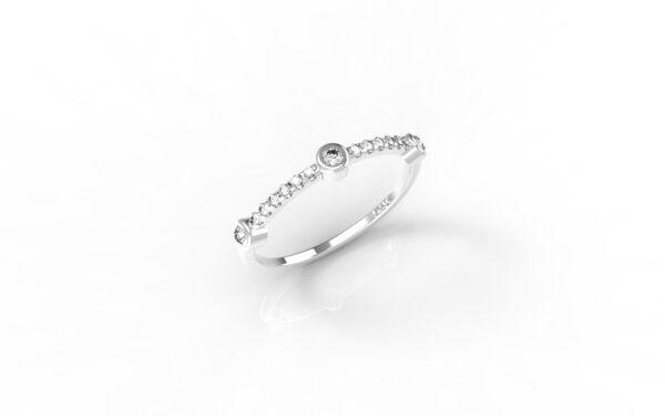 טבעות זהב-טבעת זהב לבן 3 יהלומים
