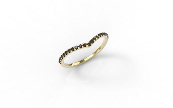 טבעות זהב-טבעת זהב משובצת יהלומים שחורים 0.12