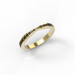 טבעות זהב-טבעת זהב משובצת יהלומים שחורים 0.21