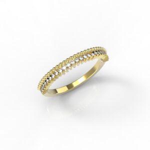 טבעות זהב-טבעת זהב משובצת יהלומים 0.14