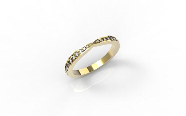 טבעות זהב-טבעת זהב משובצת יהלומים 0.21