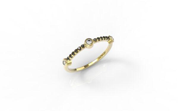 טבעות זהב-טבעת זהב 3 יהלומים משולבת