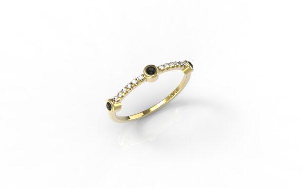 טבעות זהב-טבעת זהב 3 יהלומים שחורים