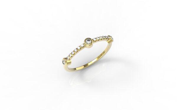טבעות זהב-טבעת זהב 3 יהלומים
