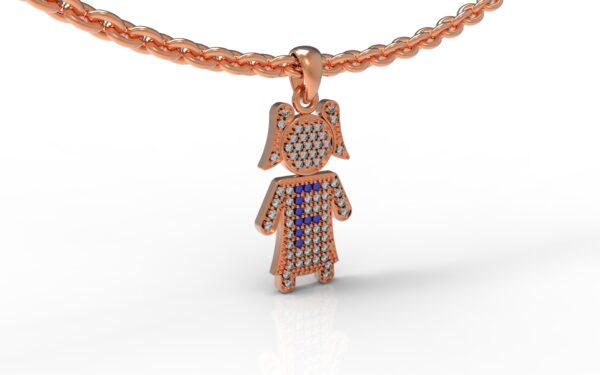 שרשרת עם שם-תליון זהב אדום ילדה משובץ יהלומים