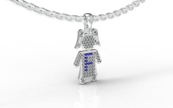 שרשרת עם שם-תליון זהב לבן ילדה משובץ יהלומים