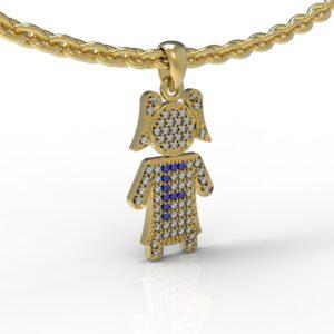 שרשרת עם שם-תליון זהב ילדה משובץ יהלומים