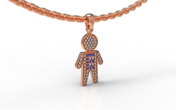 שרשרת עם שם-תליון זהב אדום ילד משובץ יהלומים