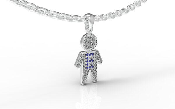 שרשרת עם שם-תליון זהב לבן ילד משובץ יהלומים