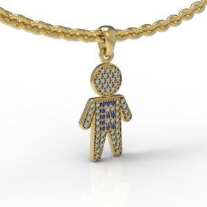 שרשרת עם שם-תליון זהב ילד משובץ יהלומים